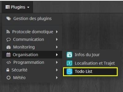 Comment accéder à la configuration du plugin Todo List