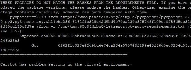 Installation de Let's Encrypt en erreur à cause du pip.conf