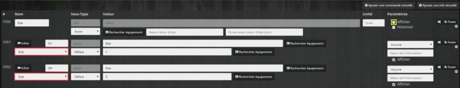 Terminer de créer des commandes virtuelles pour un virtuel pour un interrupteur