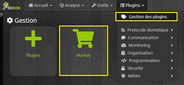 Accéder à la gestion des plugins puis au Market Jeedom