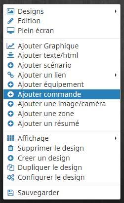 Ajouter une commande dans un design Jeedom