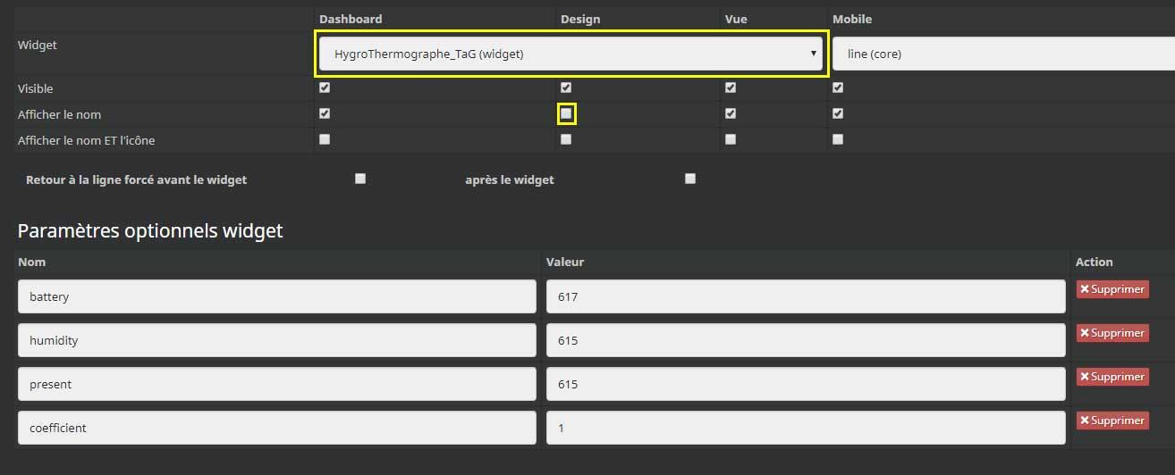 Ajouter des paramètres optionnels au widget hygrothermographe