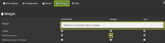 Choisir le nouveau widget pour la commande Présence du FGMS-001 dans le design 2D de Jeedom