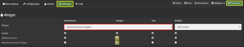 Configurer l'affichage de la commande d'ouverture dans le design 2D de Jeedom
