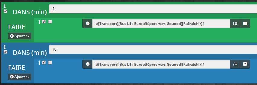 Configuration bloc dans scénario rafraîchissement des horaires de transport en commun dans Jeedom