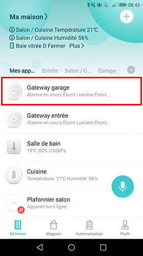 Sélectionner la Gateway Xiaomi