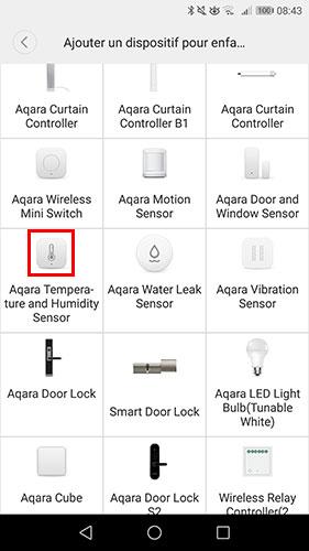 Sélectionner la sonde Xiaomi Aqara