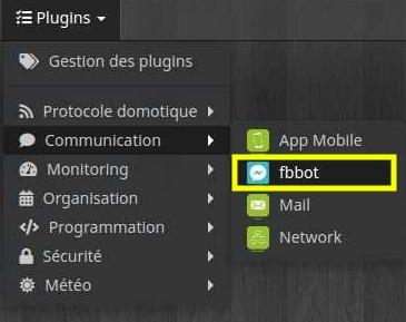 Accéder à la liste des équipements du plugin FBbot