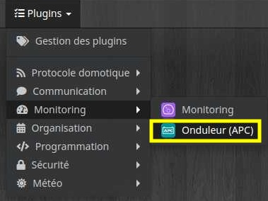 Accédez à la liste des équipements du plugin Onduleur APC