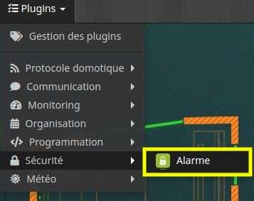 Accéder à la liste des équipements du plugin Alarme
