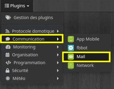 Accéder à la liste des équipements du plugin E-mail