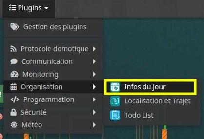 Accéder à la liste des équipements du plugin Informations du jour
