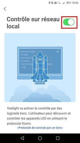 Activer le mode développeur dans l'application Yeelight