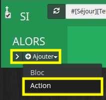 Ajouter un bloc action dans un bloc si d'un scénario de Jeedom