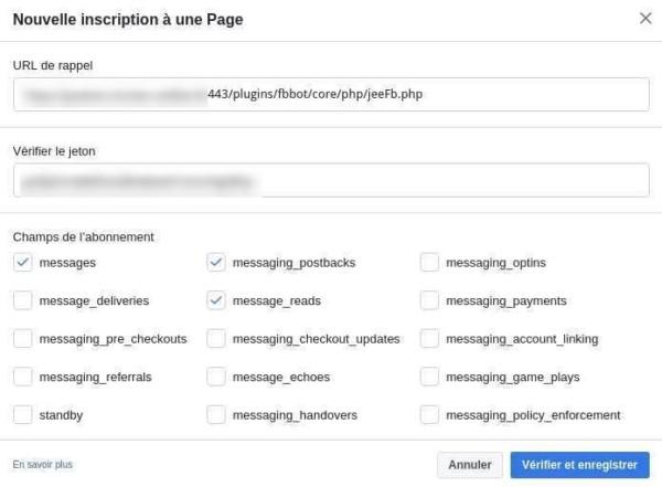 Ajouter des événements aux webhooks de l'application Messenger