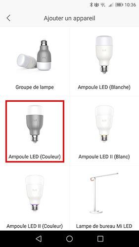 Choisir l'ampoule à intégrer à l'application Yeelight