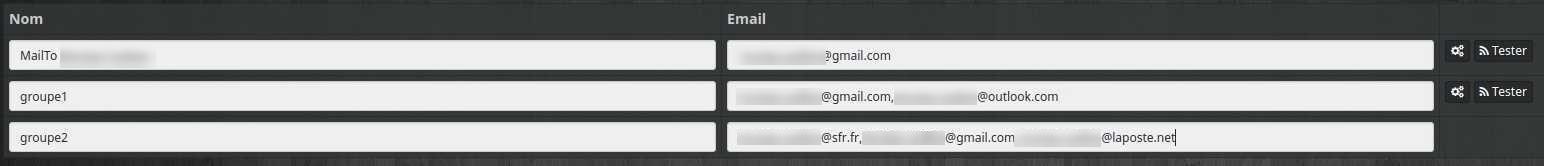 Configurer les groupes de destinataires de l'équipement du plugin E-mail