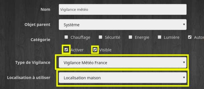 Créer un équipement vigilance météo France du plugin Vigilance Météo