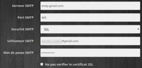 Définir les paramètres SMTP dans l'équipement du plugin E-mail