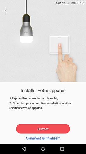 Installer l'ampoule dans l'application Yeelight