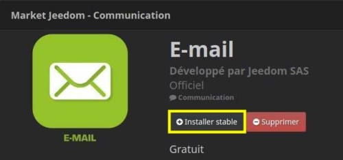 Installer le plugin E-mail depuis Jeedom
