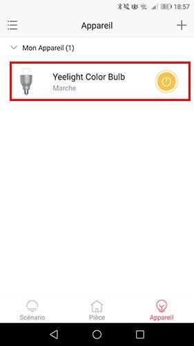 Sélectionner ampoule dans application Yeelight