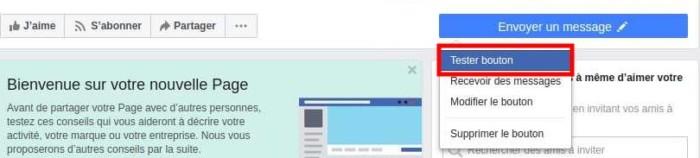 Tester bouton Messenger sur la page Facebook