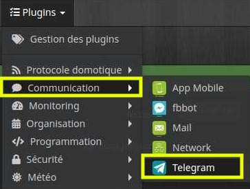 Accéder à la liste des équipements du plugin Telegram
