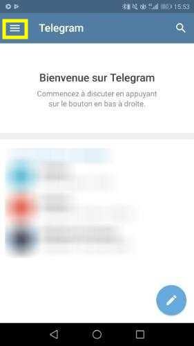 Accéder au menu Telegram