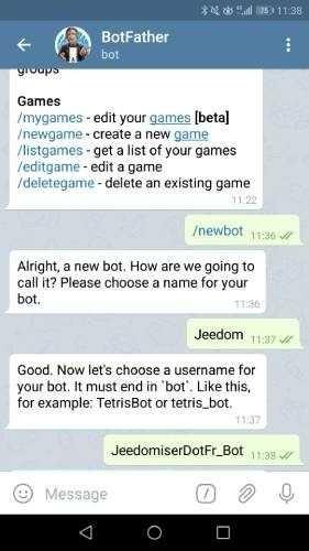 Choisir lr nom d'utilisateur du bot Telegram