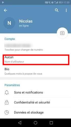 Configurer le nom d'utilisateur pour Telegram