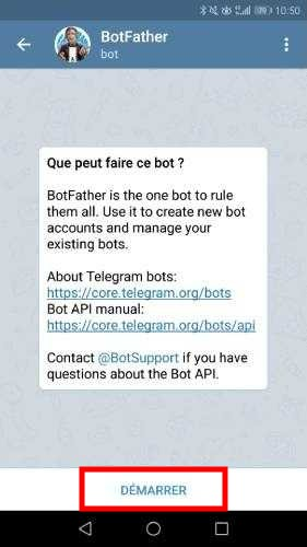 Démarrer le BotFather de Telegram