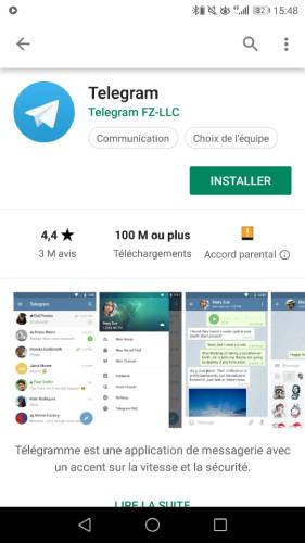 Installer Telegram depuis Android