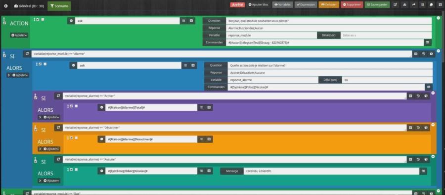 Créer le scénario pour créer un menu d'intéractions avec le plugin Telegram