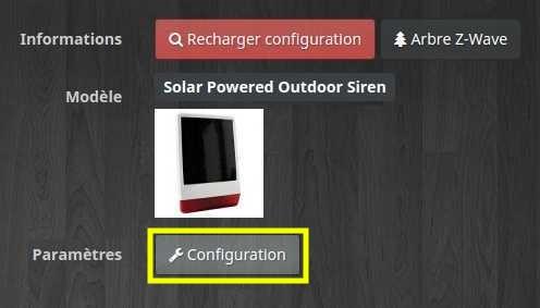 Accéder à la configuration de la sirène extérieur solaire POPP dans le plugin Z-Wave