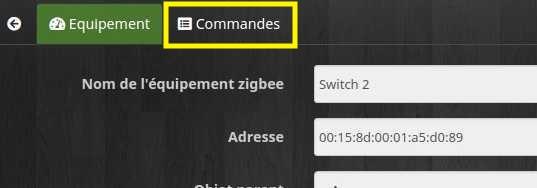 Accès aux commandes de l'équipement Zigbee avec le plugin Deconz