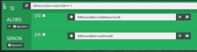 Activation ou désactivation de l'alarme selon un scénario provoqué via les interrupteurs Xiaomi dans Jeedom