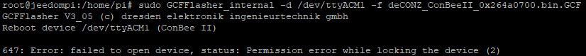 Erreur possible lors de la mise à jour du firmware de la clé ConBee II avec Jeedom