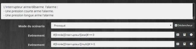 Méthode de déclenchement pour le scénario d'activation ou désactivation de l'alarme avec Jeedom