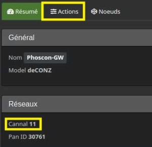 Vérifier et modifier le canal de communication utilisé sur le plugin Deconz