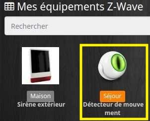 Sélectionner l'équipement Z-Wave Fibaro FGMS-001 dans le plugin Z-Wave avec Jeedom