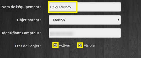 Activer et renommer l'équipement TéléInfo avec Jeedom