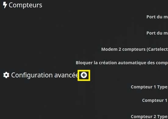 Afficher la configuration avancée du plugin TéléInfo avec Jeedom