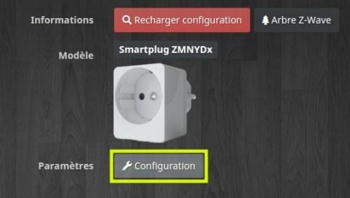 Accéder à la configuration de la prise connectée Z-Wave+ Qubino compatible Jeedom