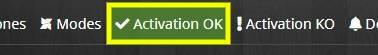 Accéder à l'onglet Activation OK de l'équipement Alarme avec Jeedom