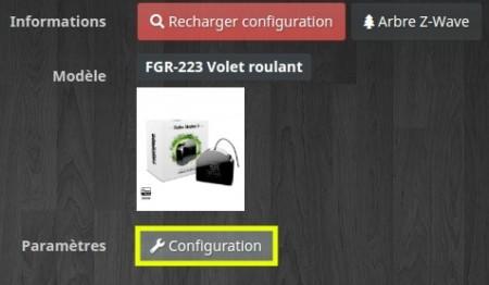 Accédez à la configuration du module Fibaro fgr-223 depuis le plugin Z-Wave de Jeedom
