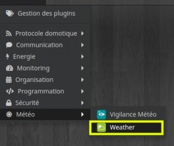 Accéder à la liste des équipements du plugin Weather depuis Jeedom