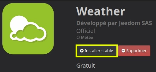 Installer le plugin Weather depusi le Market de Jeedom