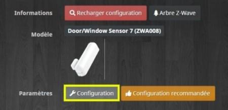 Accéder à la configuration du capteur ouverture porte fenêtre Z-Wave gen7 d'Aeotec.