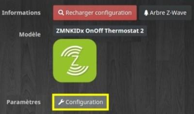 Accéder à la configuration du module Qubino flush on off Thermostat 2 Z-Wave avec Jeedom